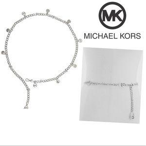MICHAEL KORS Silver MK Logo Chain Belt